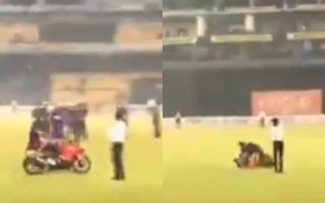 Bike stunt gone wrong: Shehan Jayasuriya and Kusal Mendis endure comical skid