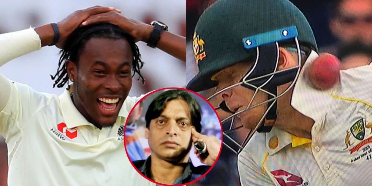 Jofra Archer was spotted laughing on injured Steve Smith (Pic - Twitter)