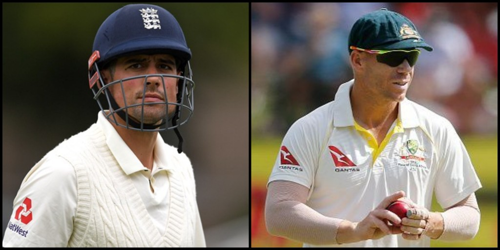 Alastair Cook and David Warner (Photo - Gareth Copley/Getty Images)