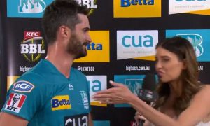 WATCH- Ben Cutting's Hilarious Conversation With His Wife Erin Holland After Leading Heat To Win vs Hurricanes:On Thursday, Brisbane Heat defeated Hobart Hurricanes by 7 wickets at The Gabba, Brisbane.