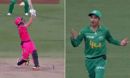 Sandeep Lamichhane and Seb Gotch hilariously misjudge Moises Henriques' six in BBL 2019-20