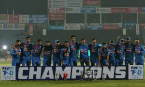 Here is the reason behind Sanju Samson missing from team India picture at trophy celebrations: On Friday, with 78 runs victory over Sri Lanka, Team India clinched the three matches T20Is series by 2-0.