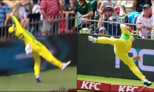 during the second T20 match Australian Steve Smith tunned everyone with his superman effort to save runs.