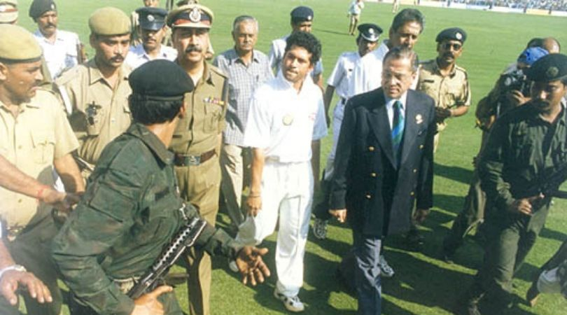 On this day in 1999 i.e. 19 February 1999, during the fourth test match of the Asian Test Championship between India and Pakistan, Sachin Tendulkar run out