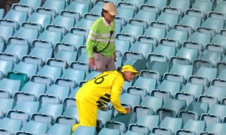 Ashton Agar Looks Out For Ball In Stands In Absence Of Spectators