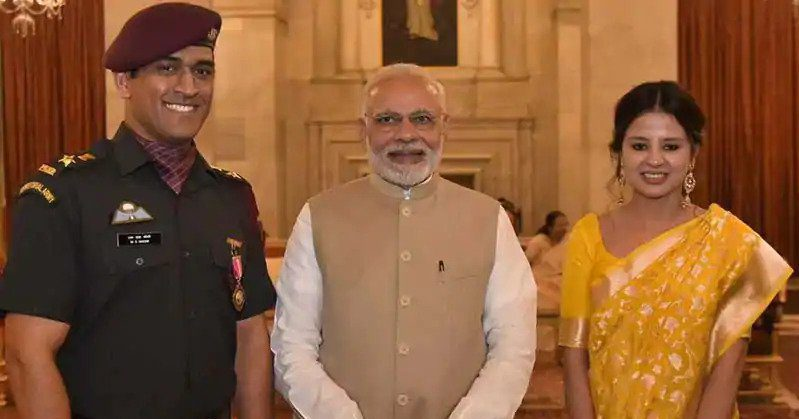 MS Dhoni and Narendra Modi
