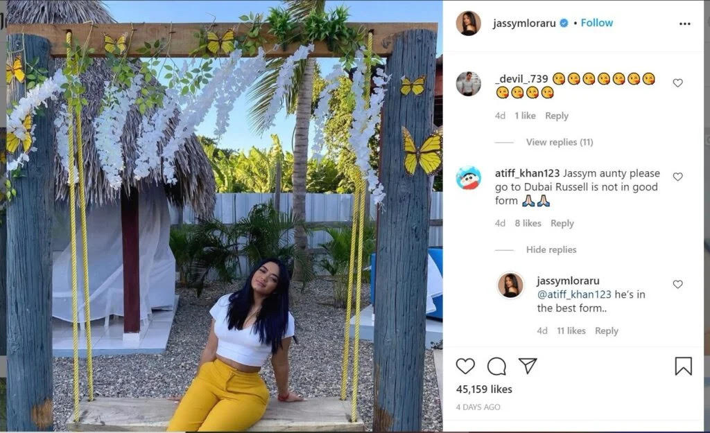 Andre Russell's wife Jassym Lora gives it back to the troll who made an unsavoury remark