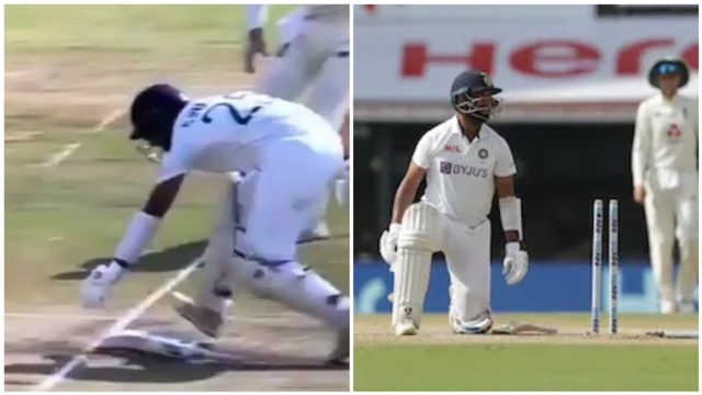 Cheteshwar Pujara run out in today match was a strange moment. It all happened in the very first over of the Day 3 of ongoing Ind vs Eng 2021
