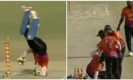 Watch: RCB keeper-batsman Mohammed Azharuddeen scores a freakish run out in local Kerala tournament.