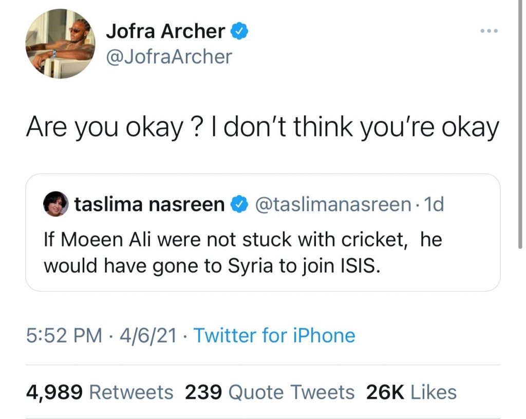 English fast bowler Jofra Archer has earned quite a reputation on Twitter, thanks to his Nostradamus-Esque tweets