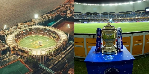 Wankhede Stadium and IPL Trophy (Pic - Twitter)