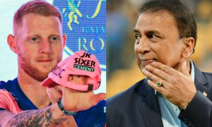 Ben Stokes, an all-rounder from the participating team Rajasthan Royals jabs the legendary cricketer Sunil Gavaskar, who is currently executing the commentary in IPL 2021