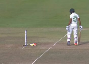 Taijul Islam getting hit-wicket (Pic - Twitter)
