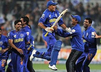 Yusuf Pathan celebrating Rajasthan Royals win (AFP Photo)