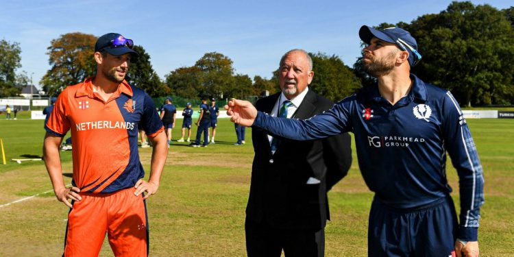 Captains up for a toss during a Netherlands vs Scotland ODI match