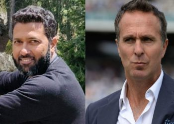 Michael Vaughan and Wasim Jaffer (Pic - Twitter)
