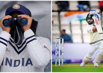 Rohit Sharma was seen watching the match with the help of binoculars which made for an amusing act.