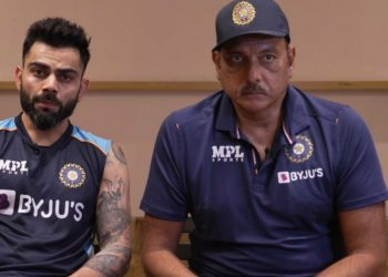 Virat Kohli and Ravi Shastri in a conference before leaving to England (Pic - BCCI)