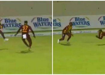 Fabian Allen and Dwayne Bravo's rebound catch (Pic - Twitter)