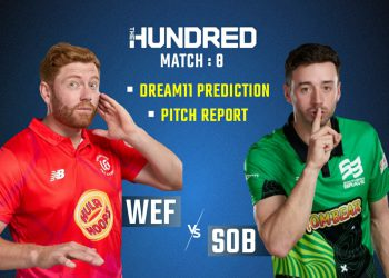 A pre-match poster of WEF vs SOB game featuring skippers of the team Jonny Bairstow and James Vince