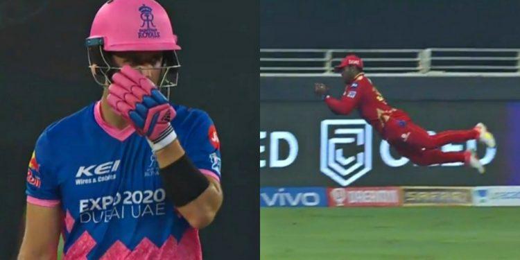 Fabian Allen takes a stunning catch of Liam Livingstone (Pic - Hotstar/IPL)