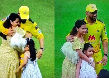 MS Dhoni, wife Sakshi and daughter Ziva after IPL 2021 win (Pic - Disney+Hotstar/IPLT20)